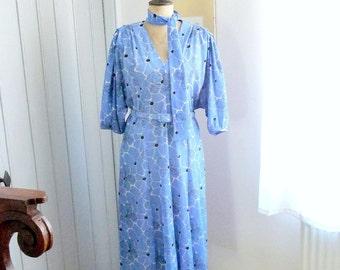 Vintage 1980s FRANCOISE Flowers Blue Dress
