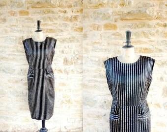 Vintage 1950s / 1960s Golden Striped Black Wiggle Dress