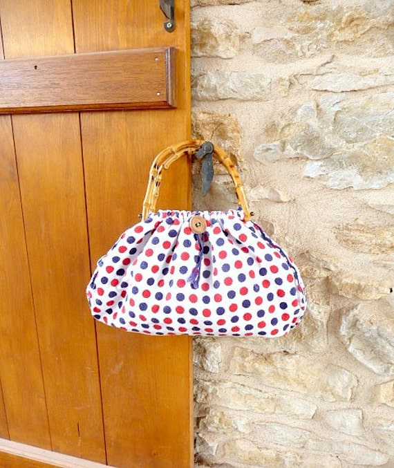 Vintage 1960s FETE NATIONALE White Fabric polka dot blue and red Handbag