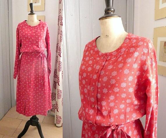 Vintage 1980s GEORGES RECH Red Silk Dress
