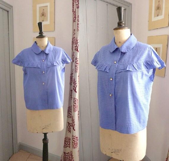 Vintage 1950s PITCH BLUE Cotton Blouse