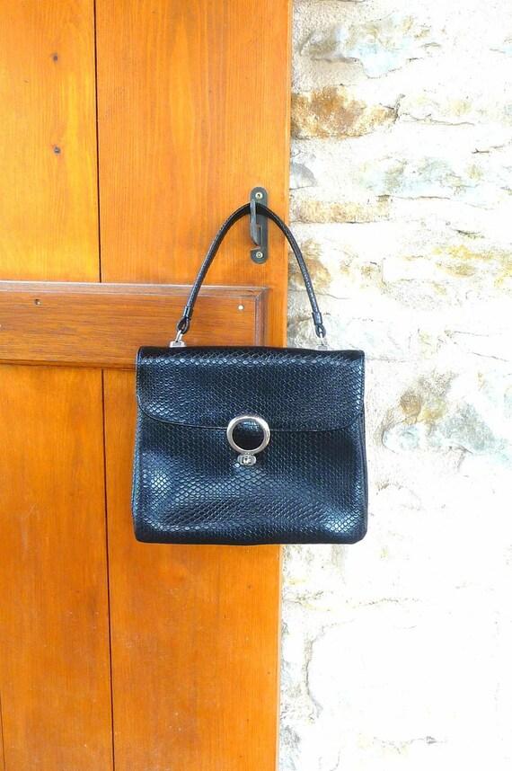 Vintage 1960s Black Leatherette Handbag