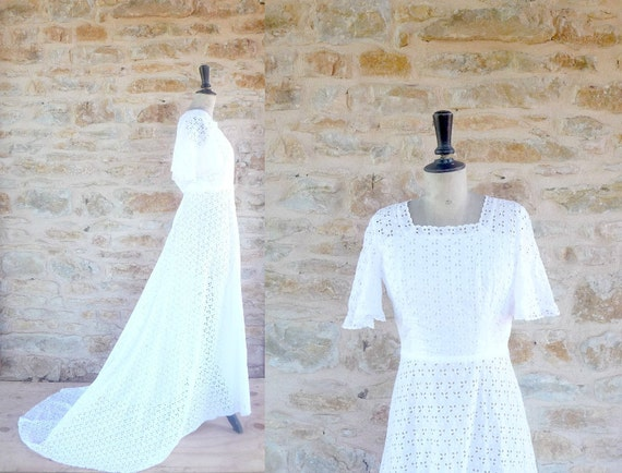 Vintage 1960s / 1970s Cotton Eyelet Wedding Dress