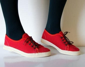 Vintage USSR red canvas sneakers from Soviet Union, 1988, size XS