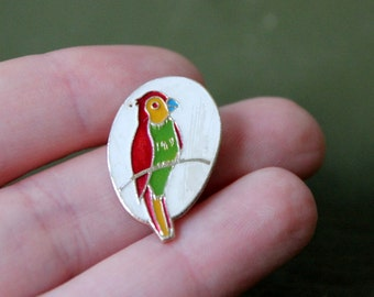 Vintage USSR pin with colorful parrot as a design
