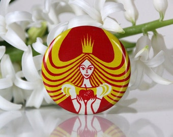Princess with an apple, Beautiful vintage pin from USSR, 70s