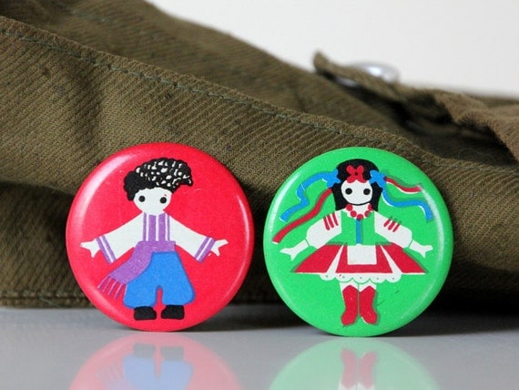 National costumes of Ukraine, set of two vintage badges, made in USSR