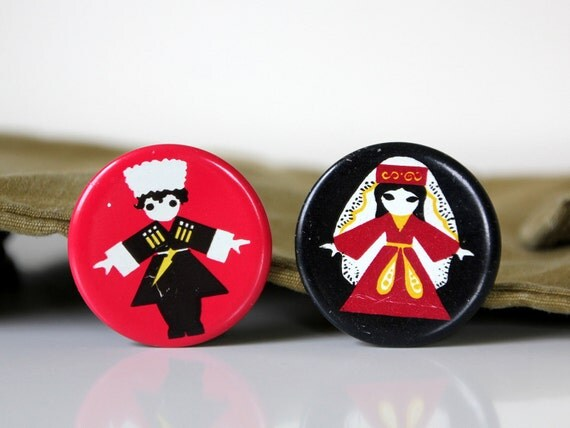 National costumes of Georgia, set of two vintage badges, made in USSR