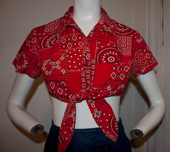 1970's vintage country western prairie picnic square dance bohemian handkerchief summer hipster hippie cropped collared shirt sz S/M