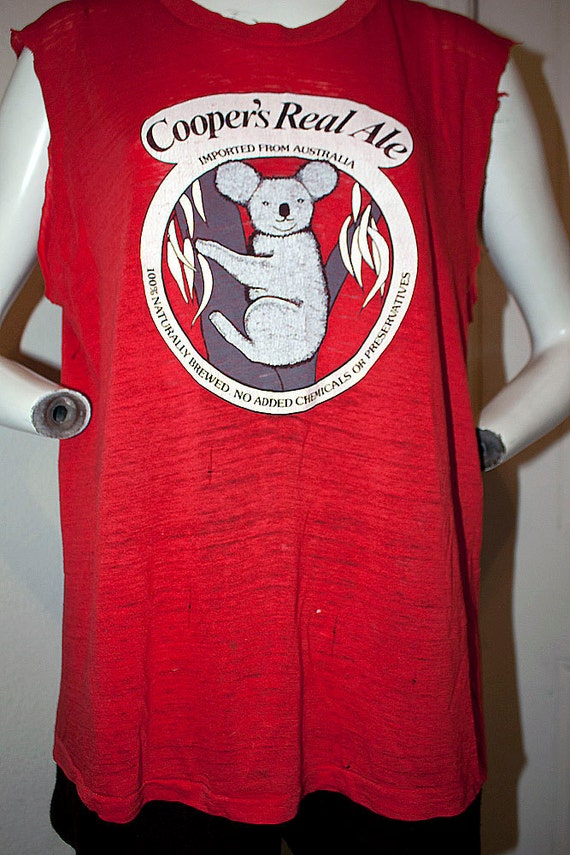 1980's Coopers Real Ale paper thin Australian brewed natural beer lager 50/50 shirt tank top thrashed hipster sz XL