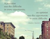 Inspirational Quotes, Photography, urban landscape, Winston Churchill, 8x8