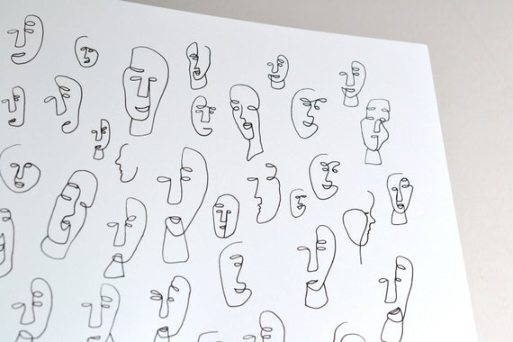 Abstract Face Line Drawing : Original drawing abstract faces the people around me no