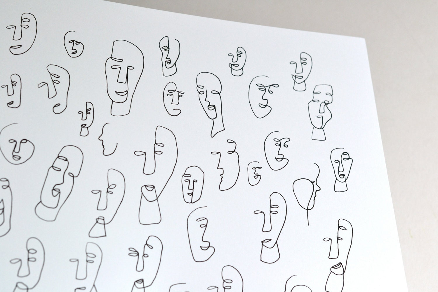 One Line Art Faces : Original drawing abstract faces the people around me no