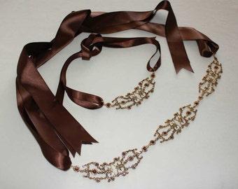 Gold Sash - Crystal Belt - Bridal Sash - Bridal Belt - Wedding Sash - Gold Belt - Wedding Belt  - Crystal Sash - Prom Sash - IRIANA