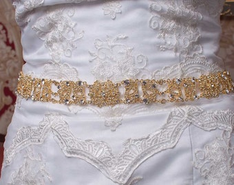 Gold Sash - Gold Belt - Bridal Sash - Bridal Belt - Crystal Sash - Crystal Belt - Prom Sash - Prom Belt - Wedding Sash - ANTOINETTE