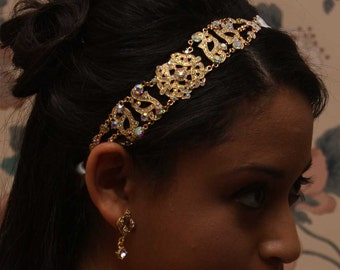 Antoinette - Gold AB Crystals Rhinestones Headband with a Vintage Flair