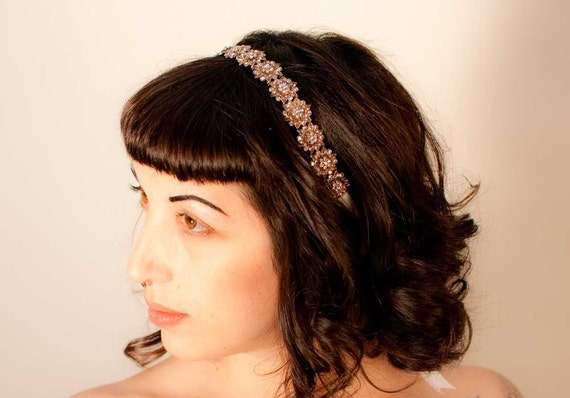 Beth - Dainty Antique Style Gold and Rhinestone Ribbon Headband