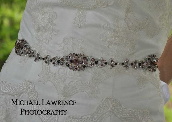 Sophia - Vintage Style Rhinestone Bridal Belt - Mixed Purple Amethyst