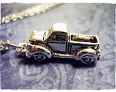 Silver Pickup Truck Necklace - Silver Pewter Pickup Truck Charm on a Delicate Silver Plated Cable Chain or Charm Only