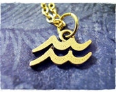 Gold Aquarius Zodiac Sign Necklace - Antique Gold Pewter Aquarius Charm on a Delicate 18 Inch Gold Plated Cable Chain