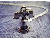 Silver Liberty Bell Necklace - Silver Pewter Liberty Bell Charm on a Delicate Silver Plated Cable Chain or Charm Only