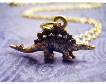 Gold Stegosaurus Dinosaur Necklace - Antique Gold Pewter Stegosaurus Charm on a Delicate Gold Plated Cable Chain or Charm Only