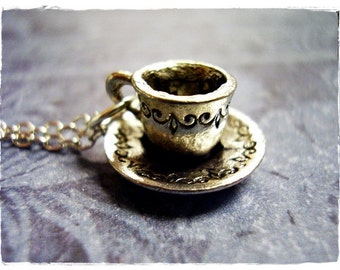 Silver Cup and Saucer Necklace - Antique Pewter Cup and Saucer Charm on a Delicate Silver Plated Cable Chain or Charm Only