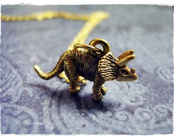 Gold Triceratops Dinosaur Necklace - Antique Gold Pewter Triceratops Charm on a Delicate Gold Plated Cable Chain or Charm Only