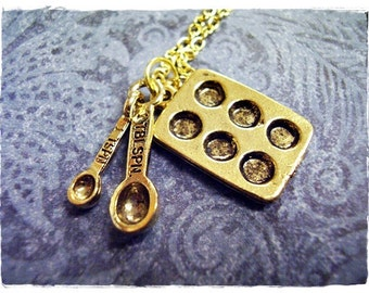 Gold Baker's Duo Necklace - Antique Gold Pewter Muffin Pan & Measuring Spoons Charms on a Delicate Gold Plated Cable Chain or Charms Only