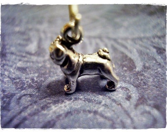 Tiny Pug Necklace - Sterling Silver Pug Charm on a Delicate Sterling Silver Cable Chain or Charm Only