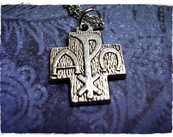 Alpha Omega Chi Rho Cross Necklace - Antique Pewter Alpha Omega Chi Rho Cross Charm on a Delicate Silver Plated Cable Chain or Charm Only