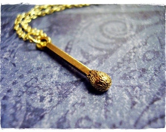 Gold Matchstick Necklace - Antique Gold Pewter Matchstick Charm on a Delicate Gold Plated Cable Chain or Charm Only