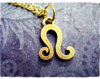 Gold Leo Zodiac Sign Necklace - Antique Gold Pewter Leo Charm on a Delicate Gold Plated Cable Chain or Charm Only