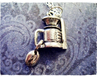 Coffee Maker and Coffee Bean Necklace - Antique Pewter Coffee Maker and Coffeen Bean Charm on a Silver Plated Cable Chain or Charm Only
