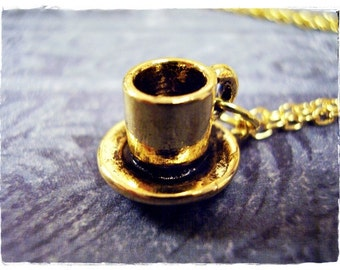 Gold Coffee Cup and Saucer Necklace - Antique Gold Pewter Coffee Cup and Saucer Charm on a Delicate Gold Plated Cable Chain or Charm Only