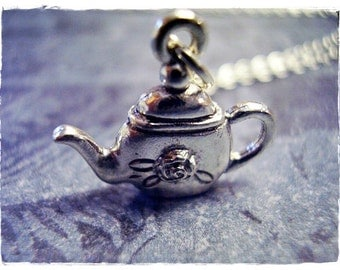 Silver Rose Tea Kettle Necklace - Silver Pewter Rose Tea Kettle Charm on a Delicate Silver Plated Cable Chain or Charm Only