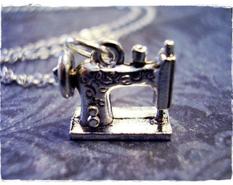 Silver Sewing Machine Necklace - Silver Pewter Sewing Machine Charm on a Delicate Silver Plated Cable Chain or Charm Only