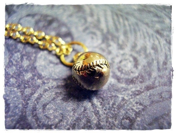 Itty Bitty Baseball 3D Charm Necklace in Antique Gold Pewter with a Delicate 18 Inch Gold Plated Cable Chain