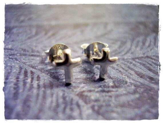Itty Bitty Cross Post Earrings in Sterling Silver
