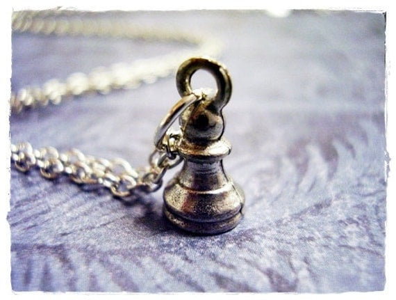 Tiny Pawn Necklace - Antique Pewter Pawn Charm on a Delicate Silver Plated Cable Chain or Charm Only