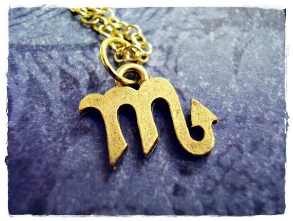 Gold scorpio zodiac sign necklace antique gold pewter like this item mozeypictures Images