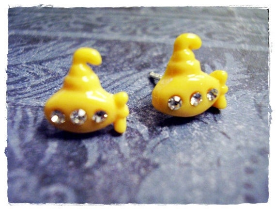 Itty Bitty Yellow Submarine Post Earrings with Clear Swarovski Crystals in Sterling Silver and Plastic