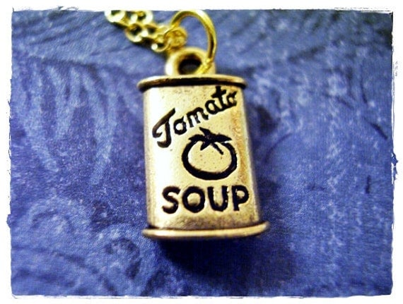 Gold Tomato Soup Can Necklace - Antique Gold Pewter Tomato Soup Can Charm on a Delicate Gold Plated Cable Chain or Charm Only