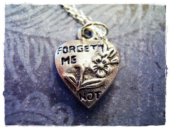 Silver Forget Me Not Heart Necklace - Antique Pewter Forget Me Not Heart Charm on a Delicate 18 Inch Silver Plated Cable Chain