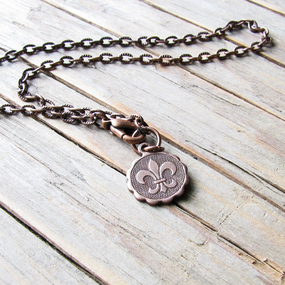 Fleur De Lis Anklet Charm Ankle Bracelet In Antiqued Copper