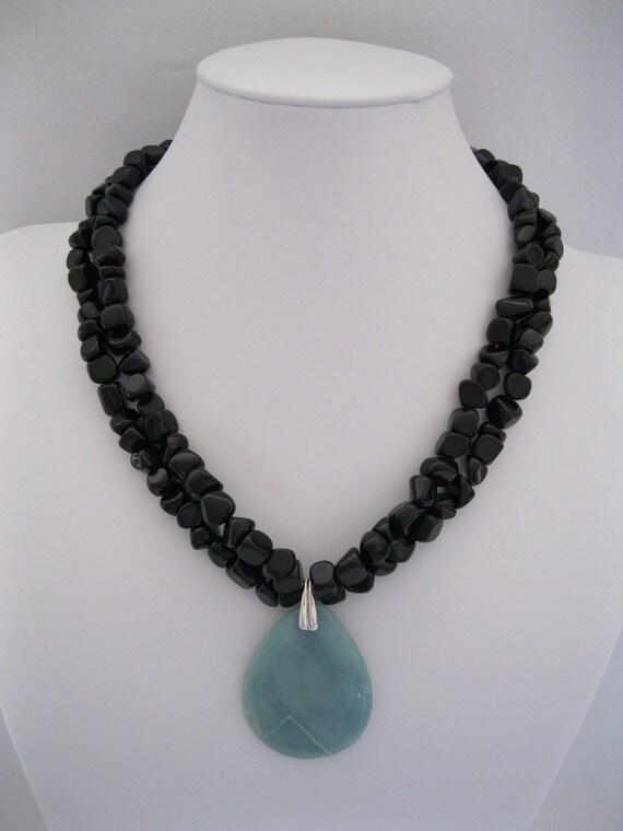 Just Amazonite - Black Agate with Amazonite Pendant