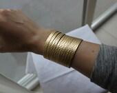 London Soho Gold Leather split cuff
