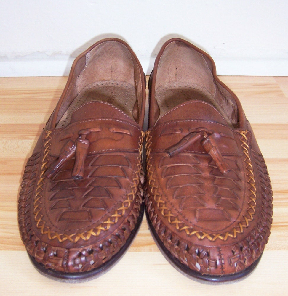Vintage Mens Woven Leather Brazilian Loafers 95