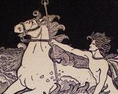 Neptune on horseback, book page - 1909 Songs of Cornell book illustration