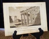 Tempio di Antonino e Faustina, Beautiful Rome - antique book plate print